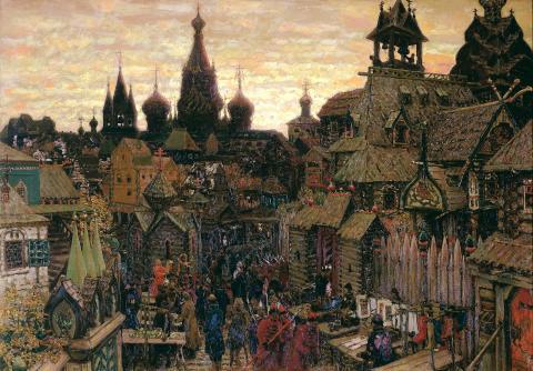 Аполлинарий Михайлович  Васнецов.  «Старая Москва. Улица в Китай-городе начала XVII века».  1900.