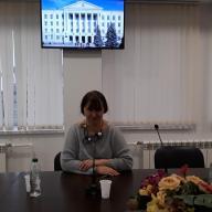 В здании ПсковГУ. Доклад Е.Е. Дмитриевой