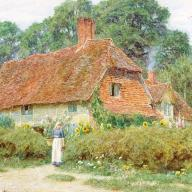 By_the_cottage_gate_watercolor_painting_by_Helen_Allingham