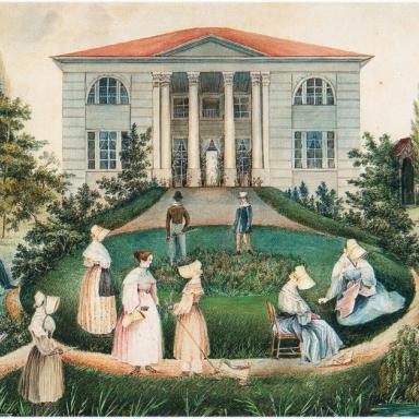Неизвестный художник. Вид помещичьего дома с садом. 1830-е гг. https://babs71.livejournal.com/1145485.html?view=comments