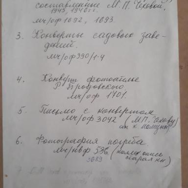 Архив усадьбы Мелихово. Опись архива С.М.Чехова